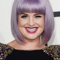 Kelly Osbourne Short Purple Bob Hairstyle with Blunt Bangs