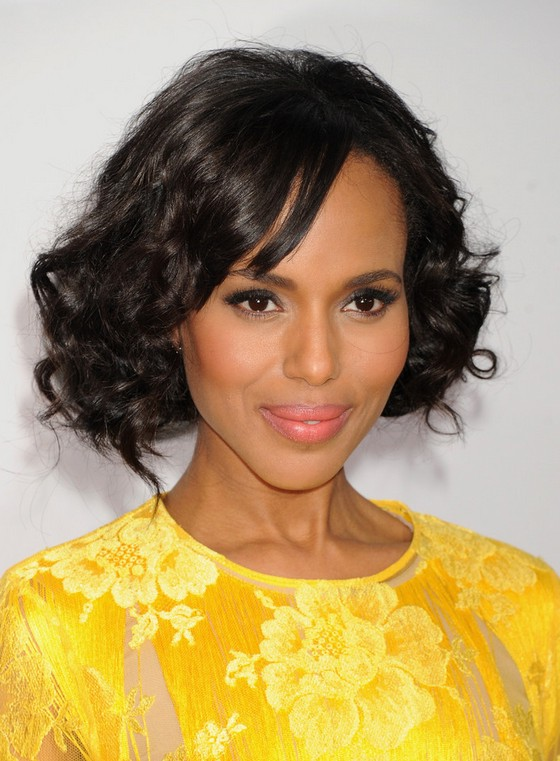 Kerry Washington Short Black Curly Bob Hairstyle for Black Women