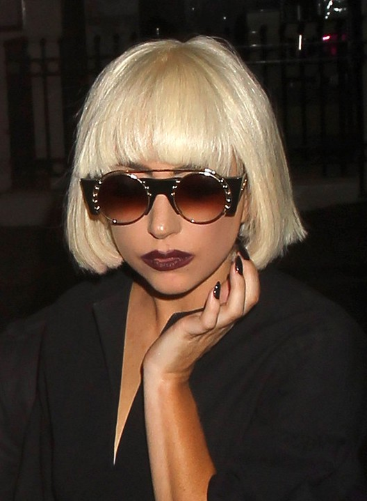 Lady Gaga Short Blunt Bob Haircut with Blunt Bangs