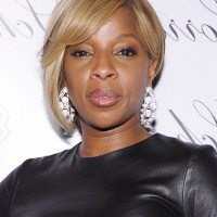 Mary J. Blige Asymmetrical Bob Hairstyle for Black Women