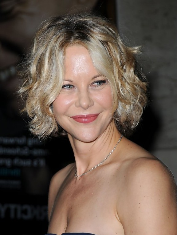 Meg Ryan Short Soft Curly Bob Hairstyle For Heart Faces