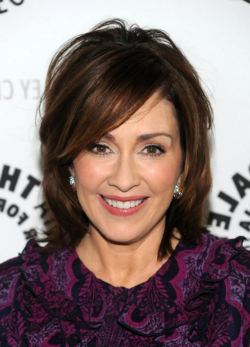 patricia heaton hairstyles : Patricia Heaton Medium Bob Hairstyle with Bangs for Thick Hair /Getty ...