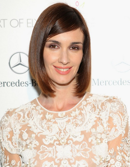 Paz Vega Short Sleek Bob Cut with Side Swept Bangs