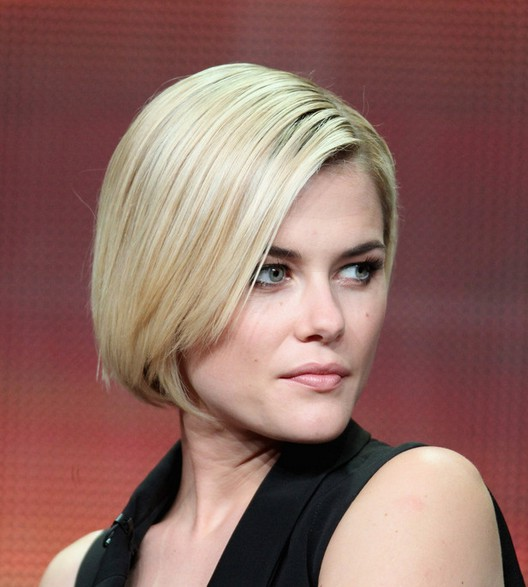 Rachael Taylor Haircut: Side Parted Stacked Bob Haircut