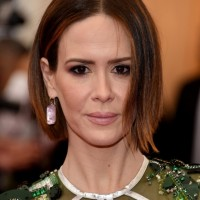 Center Parted Short Bob Hairstyle from Sarah Paulson
