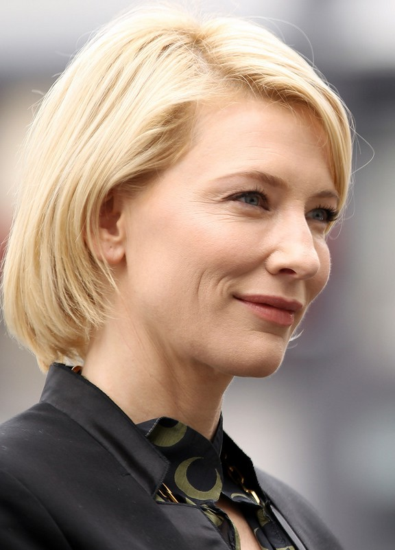 Side View Of Cate Blanchett Short Straight Bob Haircut