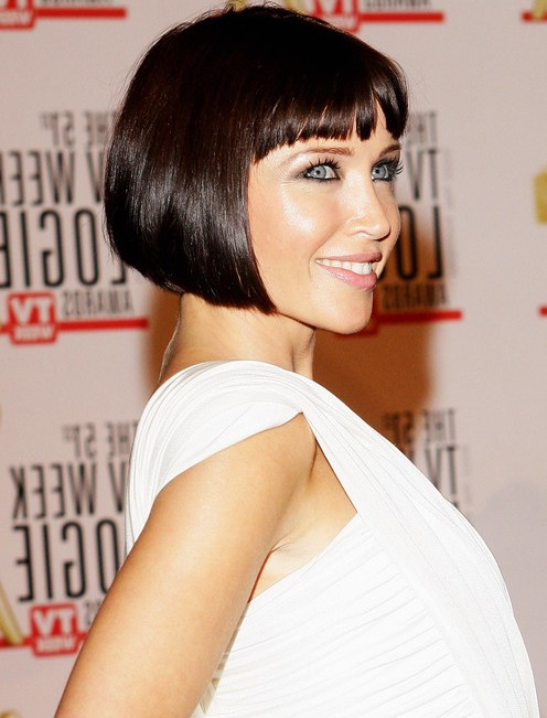 Side View of Dannii Minogue A line Bob Haircut
