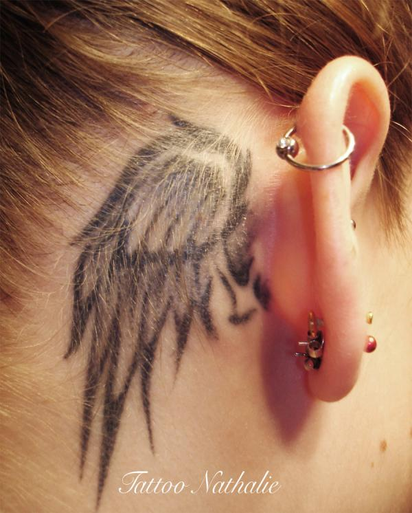 Small Angel Wings Tattoo Behind Ear