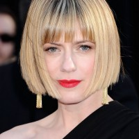 Sunrise Coigney Short Stacked Bob Haircut with Blunt Bangs
