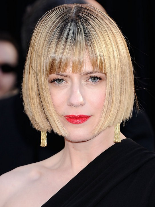 Sunrise Coigney Short Stacked Bob Haircut with Blunt Bangs ...