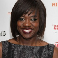 Viola Davis Short Straight Bob Haircut with Bangs for Black Women