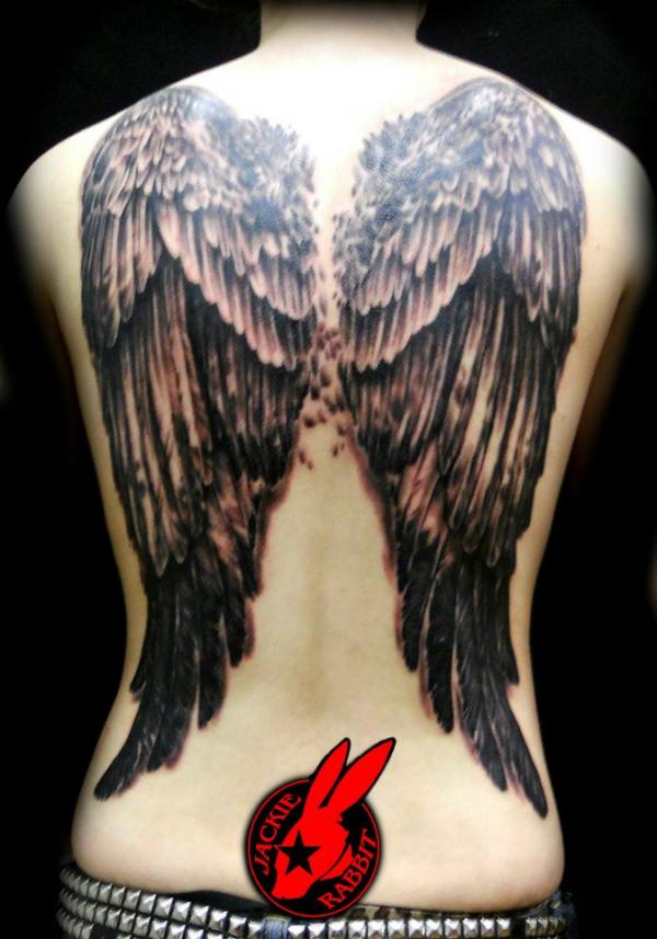 Awesome Angel Wings Back Tattoo
