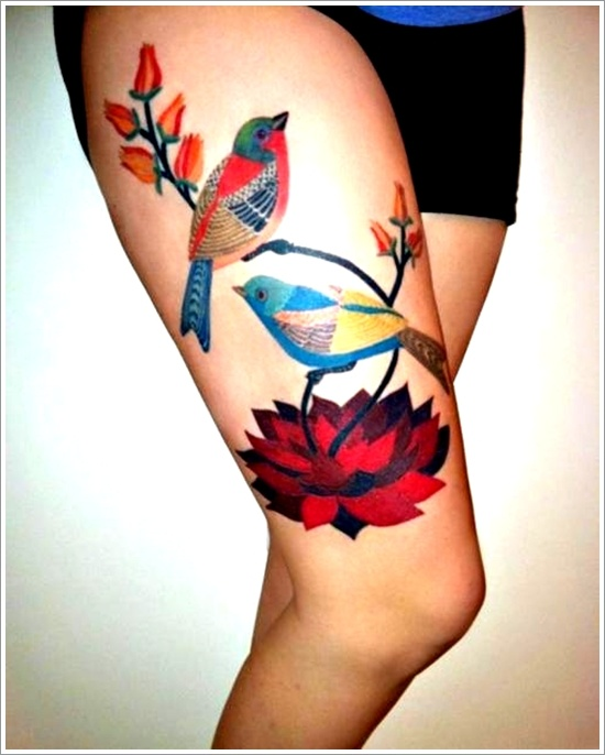 Bird tattoos on leg