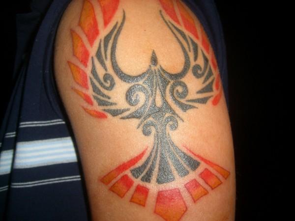 Flame tribal bird tattoo