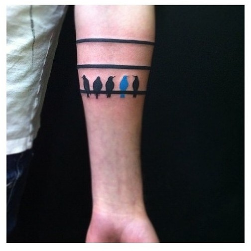 Pretty Stripe and Birds Arm Band Tattoos