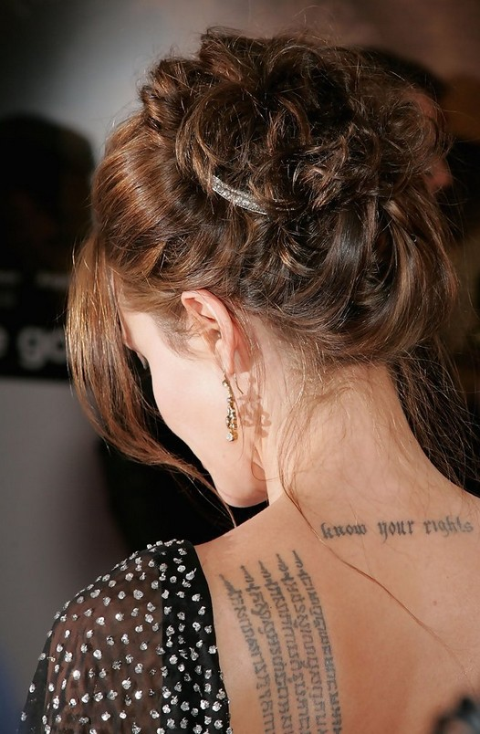 Angelina Jolie Bobby Pinned Updo Back View: Prom Hairstyles Ideas