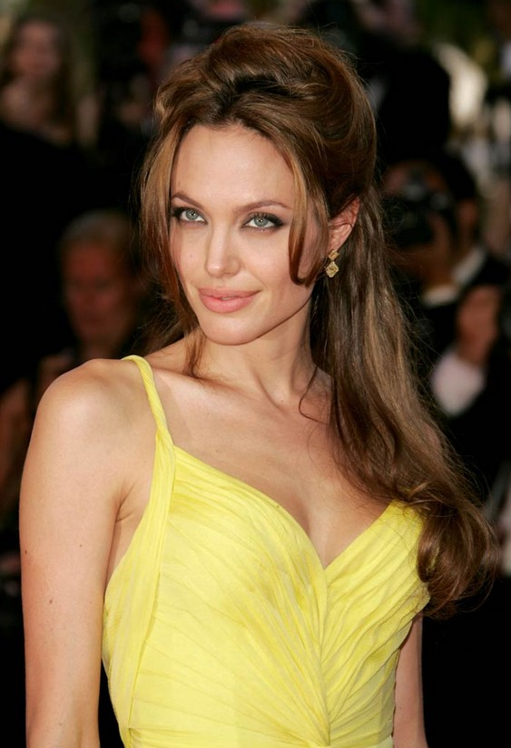 Angelina Jolie Hairstyles Half Up Down Hair Style