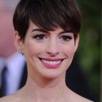 Anne Hathaway Short Pixie Haircut with Long Bangs