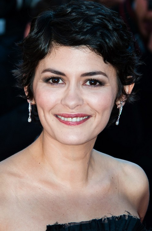 Audrey Tautou Short Black Pixie Cut for Curly Hair
