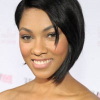 Bria Murphy Trendy Black Graduated Bob Haircut for Short Hair