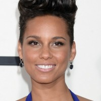 Celebrity Alicia Keys Short Black Curly Flat-top Hairstyle