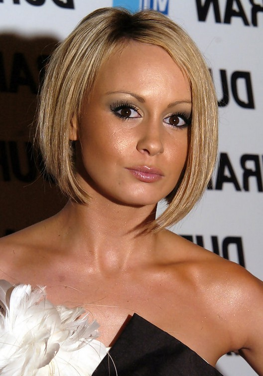Chanelle Hayes Cute Short Inverted Bob Hairstyle For Round