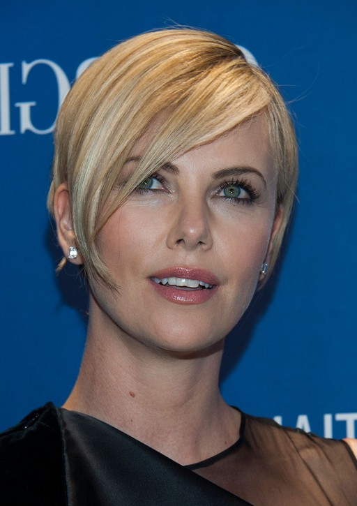 Charlize Theron Short Side Parted Straight Cut With Bangs