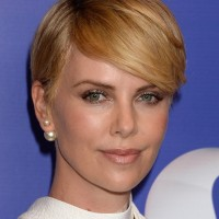 Charlize Theron Side Parted Straight Cut with Side Swept Bangs
