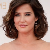 Cobie Smulders Short Brown Loose Wavy Curly Bob Hairstyle for Thick Hair