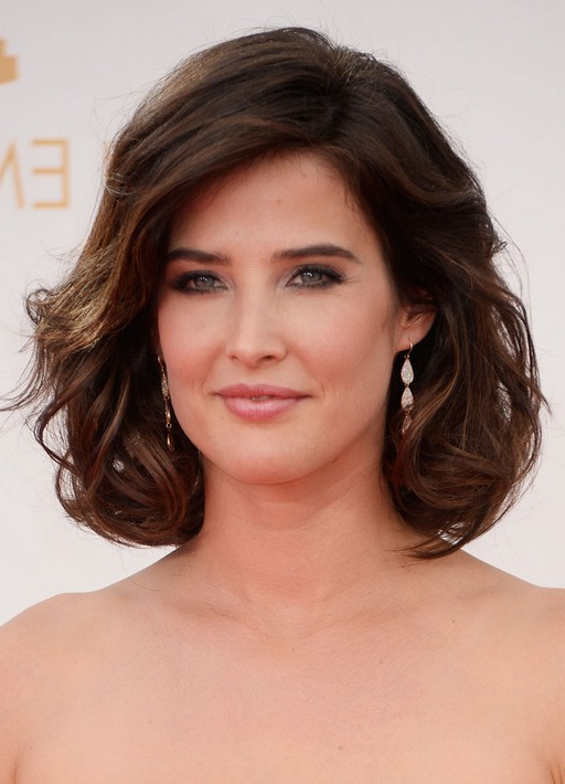 Fabulous Cobie Smulders Short Brown Loose Wavy Curly Bob Hairstyle For Hairstyles For Men Maxibearus