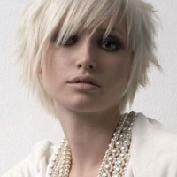 Cute Short Blonde EMO Haircut for Women