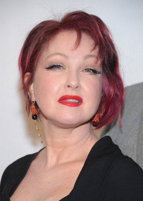 Cyndi Lauper Short Pink Inverted Bob Hairstyle Styles Weekly