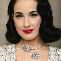 Dita Von Teese Short Black Finger Wave Hairstyle for Oval Faces