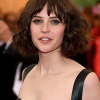Felicity Jones Choppy Short Hairstyle with Curls