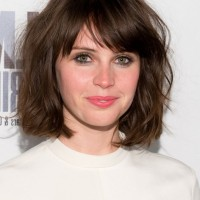 Felicity Jones Short Messy Bob Haircut with Bangs