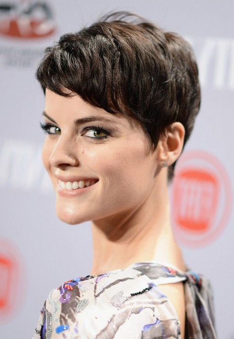 Jaimie alexander new short pixie haircut with bangs styles weekly