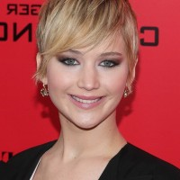 Jennifer Lawrence Cute Short Pixie Cut with Emo Bangs