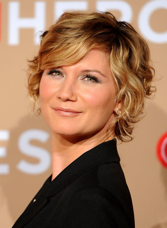 Marvelous Jennifer Nettles Short Blonde Wavy Curly Bob Hairstyle With Bangs Hairstyles For Men Maxibearus