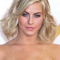 Julianne Hough Short Blonde Wavy Curly Bob Hairstyle with Volumes
