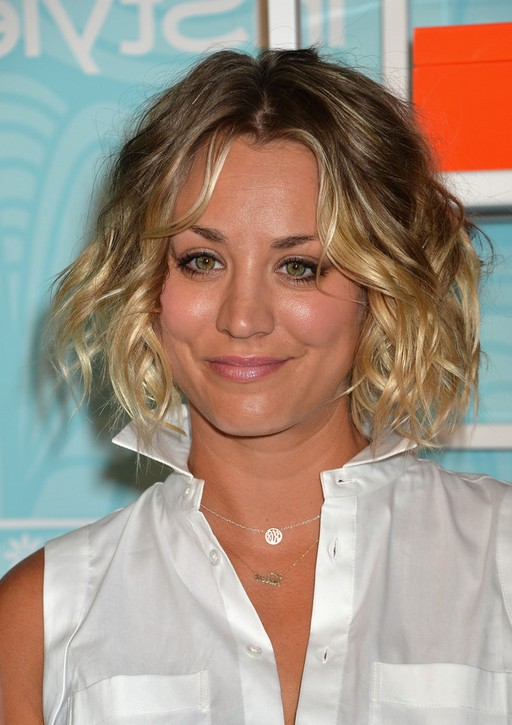 Kaley Cuoco Short Curly Brown To Blonde Ombre Bob Hairstyle