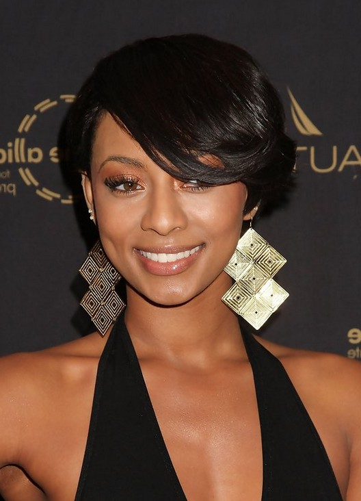 Keri Hilson Side Parted Straight Cut with Long Side Swept ...