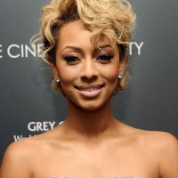 Keri Hilson Trendy Short Blonde Curly Hairstyle with Curly Bangs
