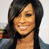 Keri Hilson Trendy Short Inverted Bob Haircut with Bangs