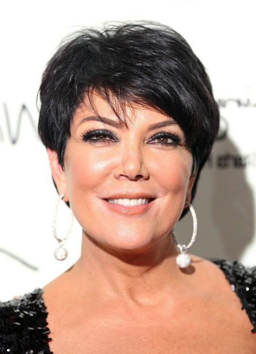 Kris Jenner Side Parted Layered Short Haircut For Women
