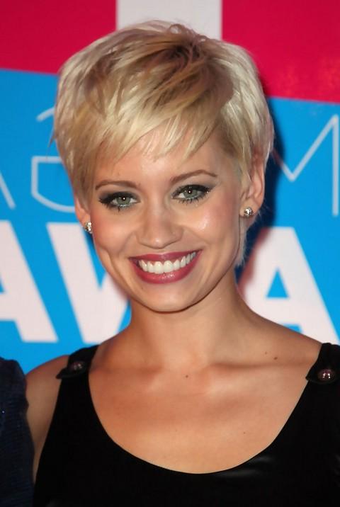 Layered Short Blonde Pixie Cut from Kimberly Wyatt
