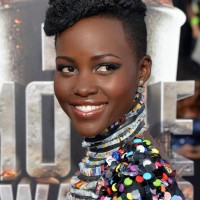 Lupita Nyong'o Trendy Short Black Curly Hairstyle for Black Women