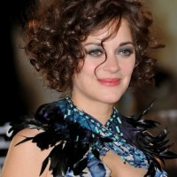 Marion Cotillard Short Brunette Curly Hairstyle for Mature Women