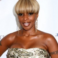 Mary J. Blige Short Blonde Bowl Cut for Black Women