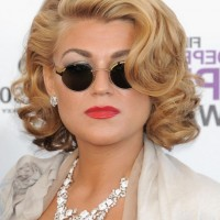 Melody Gardot Short Wavy Curly Bob Hairstyle for Round Faces