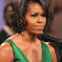 Michelle Obama Short Curly Bob Hairstylefor Black Women